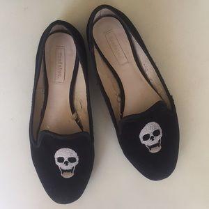 Zara Black Skull Slippers Loafers Ballet Flats 6
